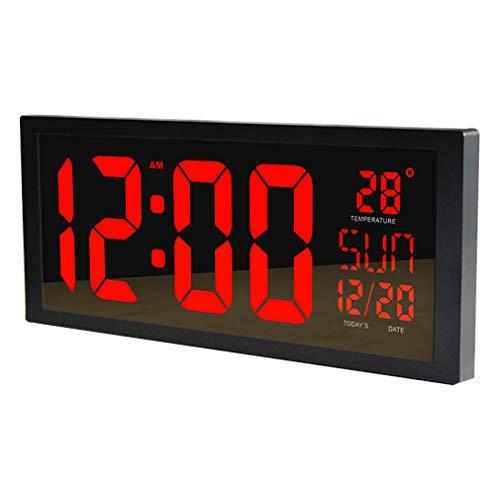 PLEASUR GroßE Led Wanduhr, Smart Digital Mit Thermometer Kalender Alarm Countdown Timer Hangable Stummschaltung FüR Home Office Turnhallen The Mall Hospital Subway, red