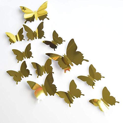 12 piezas de pegatinas 3D decorativas de pared de mariposas, multitamaño, para manualidades, decoración del hogar (oro, plata) (dorado)