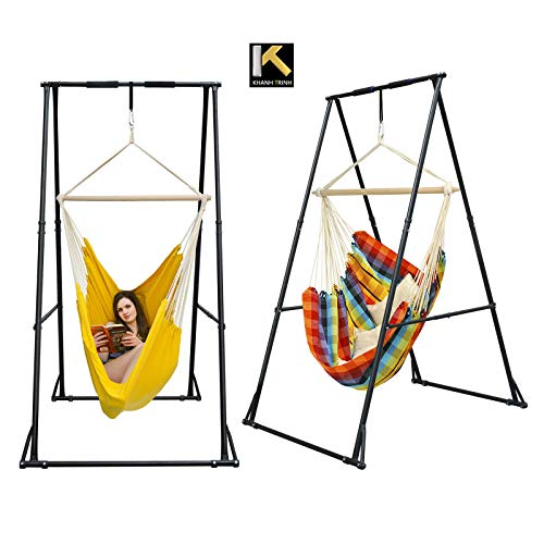 KT Indoor Outdoor Multi-Purpose Hammock Chair Stand. Foldable, Portable, Height Adjustable, Stable and Durable Hanging Chair Stand