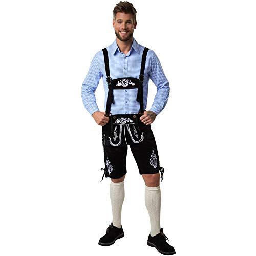 dressforfun 900814 Männer Lederhose mit Träger, Kniebund Hose in klassischer Trachtenform, schwarz, mit weißen Stickereien - Diverse Größen - (XXL| Nr. 302834)