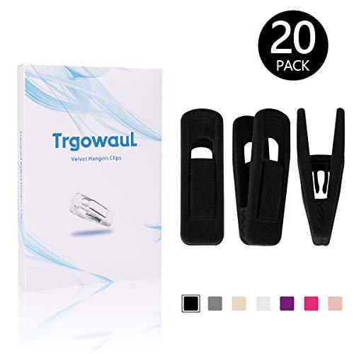 Trgowaul Velvet Hangers Clips, 20 Pack Black Pants Hangers Velvet Clips, Strong Finger Clips Perfect for Thin Velvet Hangers