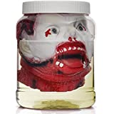 Skeleteen Laboratory Head in Jar - Gory Fake Severed Face Scary Party Decorations Props for Insane Asylum Haunted House Décor
