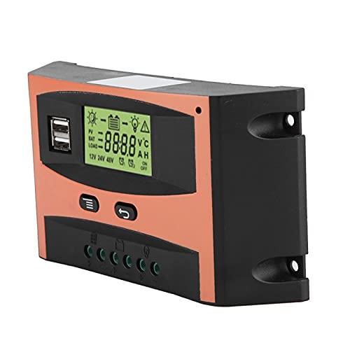 SHYEKYO Controlador de Carga Solar Mppt, Panel Solar de Calidad Militar de 12/24 V, Pantalla Grande LED Transparente + Placa de Circuito PCB antienvejecimiento(30 A, 40 A, 50 A, 60 A)(50A)