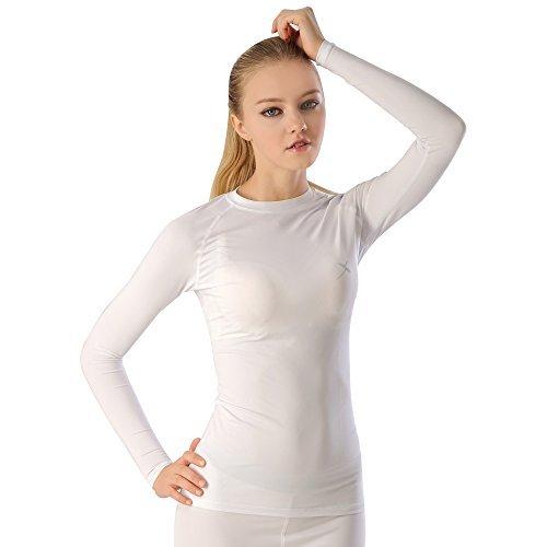 GearX Women's All Seasons Sports Long Sleeves Mock-neck Comfortable Baselayer S(85) White