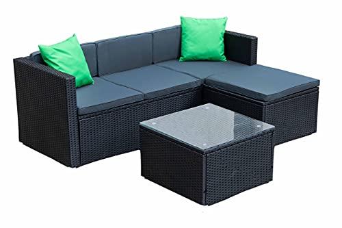 IZER Polyrattan Lounge Farbe: schwarz/dunkelgrau. Gartenmöbel Set für 3-4 Personen. Gartenlounge Set mit Sofa, Tisch und Hocker - Polyrattan- schwarz/Sitzbezüge in dunkelgrau und Zwei grüne Kissen
