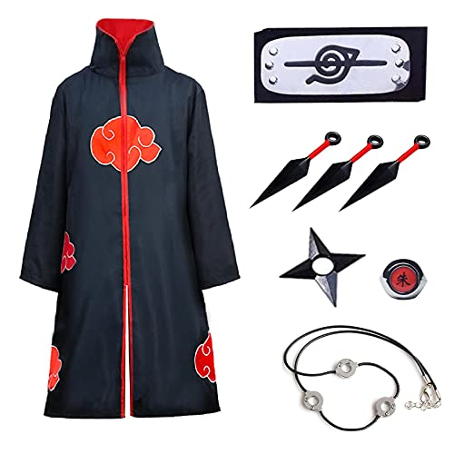 Formemory Naruto Akatsuki Mantel Kinder Unisex Cosplay Kostüm mit Stirnband Akatsuki Ringe, Anime Cosplay Itachi Mantel Jacke Halloween Weihnachten Party Kostüm