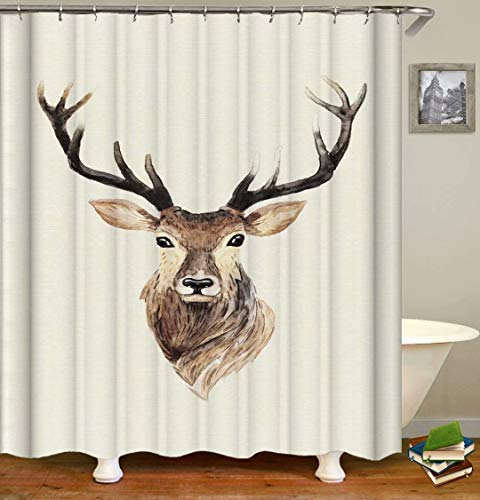 ZZZdz Reindeer. Shower Curtain: 180 X 180 Cm. Shower Curtain Bathroom Shower Curtain Sets Polyester Bathbathroom Curtain Waterproof Fabric Tapestry .With12 Hooks.
