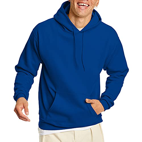 Hanes Men's Pullover EcoSmart Hooded Sweatshirt, Deep Royal, X-Large