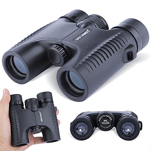 Prismáticos compactos de 10 x 26, FMC y BAK4 de lente óptica premium, adecuados para viajes al aire libre, playa, observación de animales, conciertos y juegos deportivos