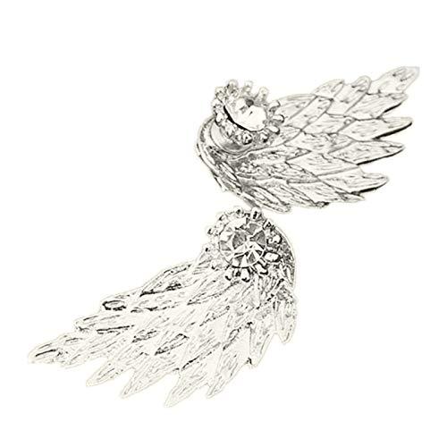 Ruby569y Pendientes colgantes para mujer y niña, diseño de ala de ángel con incrustaciones de diamantes de imitación para el oído de la chaqueta, regalo de joyería - plata