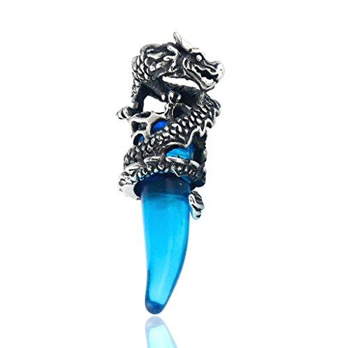 Stayoung Schmuck Edelstahl Anhänger Halskette Kristall Silber Blau Drachen Wolf Gebiss Zahn Tribal Stammes Herren,mit Kette