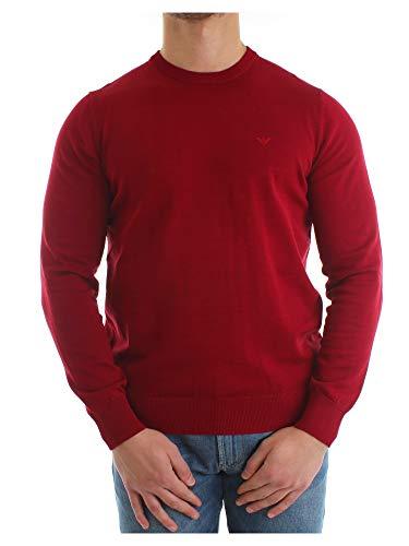 Emporio Armani Uomo Maglia girocollo in cotone lavorato a maglia Rosso Granata L