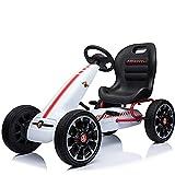 Niño Niña Bicicleta EVA Rueda Go Kart, Kart Pedal, Niños Cuatro Pedales para Niños Carrito Deportes Coches de Juguete Paseo al Aire Libre Entrenamiento en Coche para Niños,White