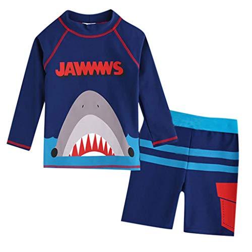 AIEason Traje de baño de manga larga para niños con estampado de dinosaurio y tiburón + shorts de…