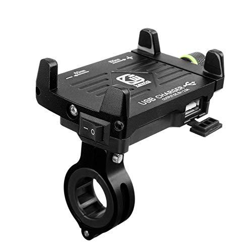 2.5A Handyhalterung Motorrad,Handyhalterung Fahrrad Smartphone und Handy Halterung Mit Schalter für Fahrrad, Bike, Motorrad/Handyhalter für iPhone - 12-24 V wasserdicht (A)