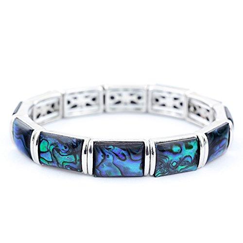 Paua-Muschel-Armband, natürliches Abalone-Armband, rhodiniert, zartes Blau/Grün (P310)