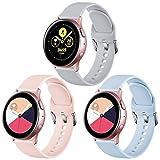 Vobafe Correa Compatible con Samsung Galaxy Watch Active/Active 2 (40mm/44mm), Correas de Repuesto de Silicona Suave con Cierre para Galaxy Watch 3 41mm/Gear Sport, S Rosa/Azul/Gris