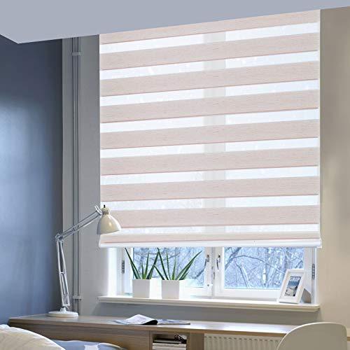 Laneetal Doppelrollo ohne Bohren Klemmfix, Duo Rollo Seitenzugrollo mit Klämmträgern, Sicht und Sonnenschutz für Fenster Tür Wand, lichtdurchlässig u. Verdunkelnd (Natur, 65 x 150 cm)