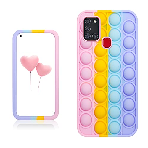 Qerrassa Color Bubble Silikon Hülle für Samsung Galaxy A21S,Fälle Spaß Entwerfen Handyhülle Fidget für Kinder Mädchen Jungs Schutz Ultra Dünne Süß Komisch Mode Fälle für Samsung Galaxy A21S