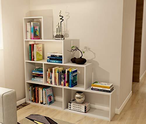 Dormidan- Estantería librería decoración, en Forma de Escalera, 140 x 136 x 25 cm (Blanco) …