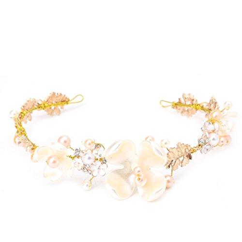niumanery Bridal Flower Faux Pearl Rhinestone Wedding Headband Hair Clip Tiara Accessories