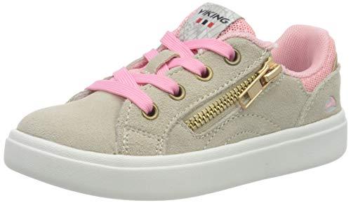 viking Mädchen Eve Low Zip Sneaker, Beige (Beige/Pink 3809), 33 EU