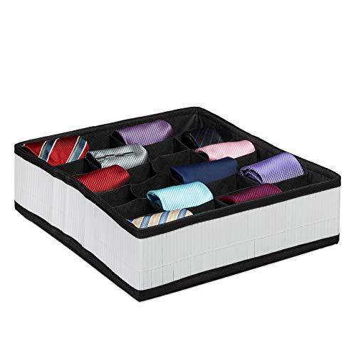 Relaxdays Boîte à Cravates de Rangement Pliable Design Bambou Organiseur de tiroir sous-vêtements Chaussettes 24 emplacements, Blanc