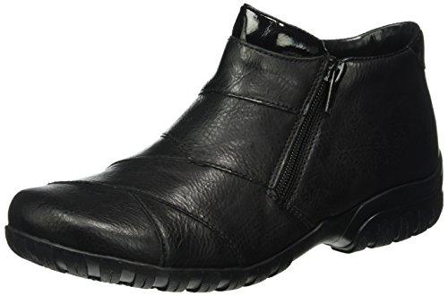 Rieker Damen Stiefeletten L4673, Frauen Ankle Boots, Woman Freizeit leger Stiefel halbstiefel Bootie gefüttert,schwarz/schwarz / 01,39 EU / 6 UK