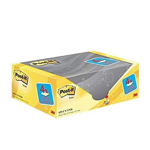Post-it Notes Promotion 655Y-20 – Selbstklebende Haftnotizzettel in 76 x 127 mm – 20 Notizblöcke rechteckig à 100 Blatt in Gelb