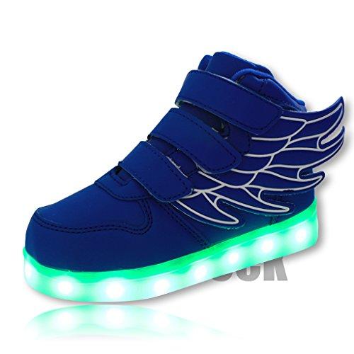 DoGeek Dziecięce świecące buty unisex chłopcy dziewczęta LED świecące buty sportowe anioł wysokie góra wiosna i lato buty LED (wybierz o połowę rozmiaru), - NIEBIESKI - 29 EU