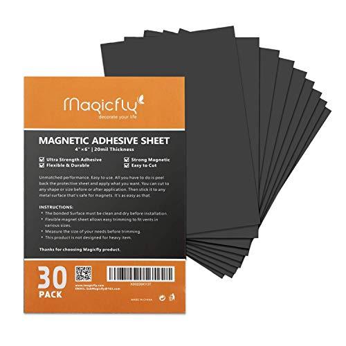 Magnetfolie, Magicfly 30 Stück Magnetplatten Selbstklebend, 10.2 x 15.2 cm für Fotos Kinderzeichnungen, DIY