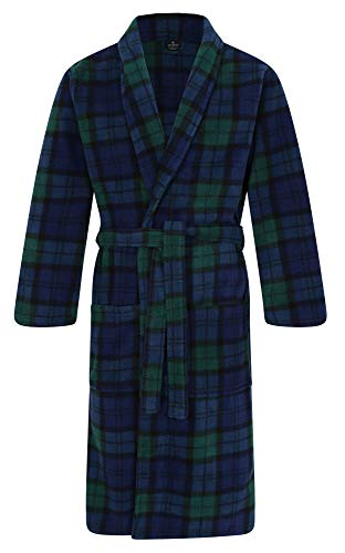 John Christian Men's Fleece Robe, Scottish Black Watch Tartan (M)