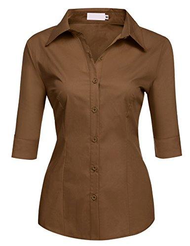 BeautyUU Damen Blusen Hemden Tailliert Stretch Oberteil Tops Braun S