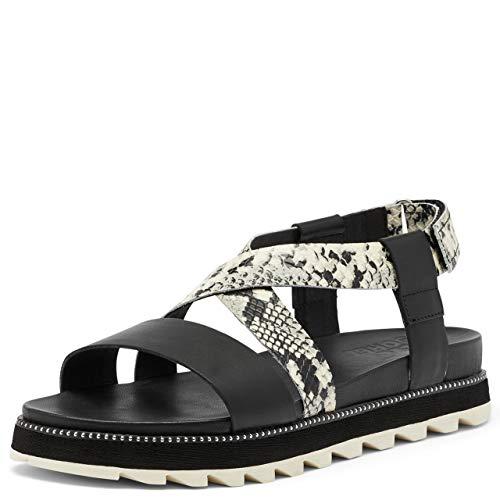 Sorel Women's Roaming Criss Cross Sandal - Black, Snake - Size 7.5