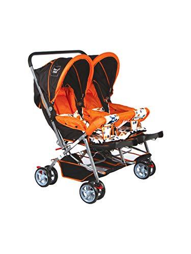 Mee Mee Twin Baby Stroller Pram | 3 Position Seating | Fully Rotating Wheels | for Newborn Baby/Kids, 0-4 Years (Orange)