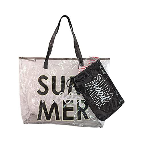 MOOD Milano - Kit de bolso de playa + bolso con impresión de colores de plástico PVC impermeable, diferentes variantes disponibles - Excelente idea regalo para mujeres y niñas Negro Size: Talla única