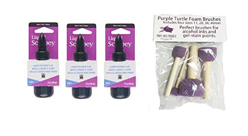 Liquid Sculpey Bundle - 3 Packs of Sculpey Liquid Polymer Clay with PTP Flash Deals Foam Dobbers (Black)