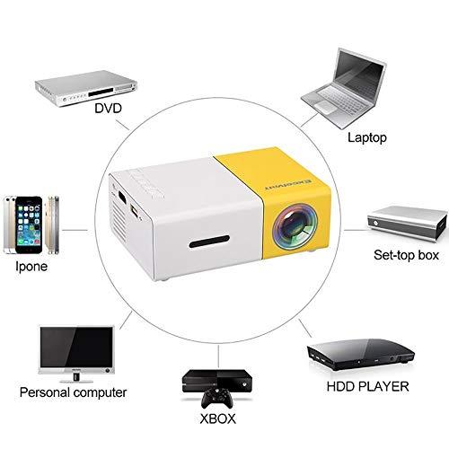YG300 Hogar Hogar Proyector LCD de Alta definición 12V 1080P Mini Proyecto portátil para Home Media Player US/AU/EU/Ukplug Amarillo