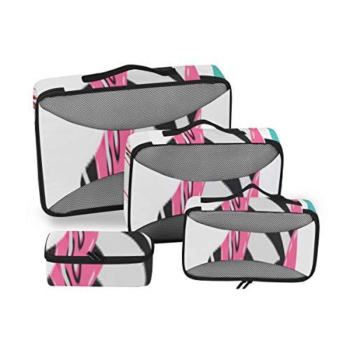 Packing Organizer Cubes Bunte Retro-Rollschuhe Bedruckte Packing Cubes Kleidung Travel Cubes 4-teiliger Koffer Organizer Leichte Gepäckaufbewahrungstasche