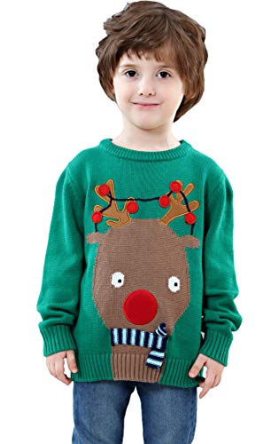 shineflow Children Kids Renna Rudolph Red Nose Ugly Christmas Maglione Verde (Rosso, 3 Anni)