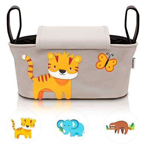 GRINSEZWERGE Kinderwagen Organizer – Theo Tiger I Premium Kinderwagentasche verschließbar I Kinder Buggy Tasche mit Feuchttuchspender I Baby Stroller Bag Grau I Aufbewahrungstasche