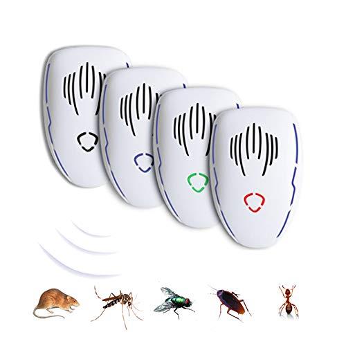 Repellente per Parassiti ad Ultrasuoni al Chiuso e Sonic Repeller Plug in Repellente per Topi, Ratti, Topi, Ragno, Scarafaggio, Zanzare, Formiche, Mosche, Termite 4pack