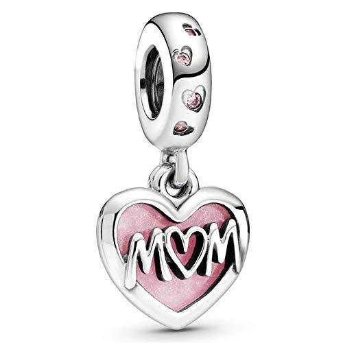 Desconocido JCaleydo Charm, Mon - I Love You, Mama - Te Quiero, Plata de Ley 925 Compatible con Pulsera Pandora & Europeo, Charms para Mujer Niña