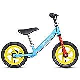 Bicicleta sin pedales Bici Bicicleta de Equilibrio con Freno de Mano - Bicicleta Ligera de Entrenamiento para niños con Asiento Ajustable, 2/3/4/5/6 años, Azul/Amarillo (Color : Azul)