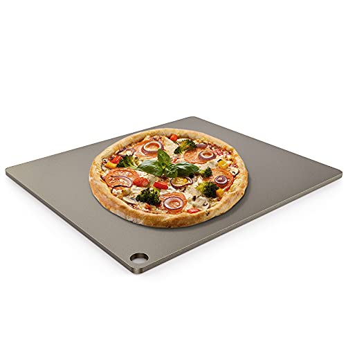 only fire Steel Pizza Baking Stone with High Performance Conductive Grilling Surface for Pizza Bread - 14 x 16 inch Large Non-Stick Pizza Pan for Oven, BBQ and Grill