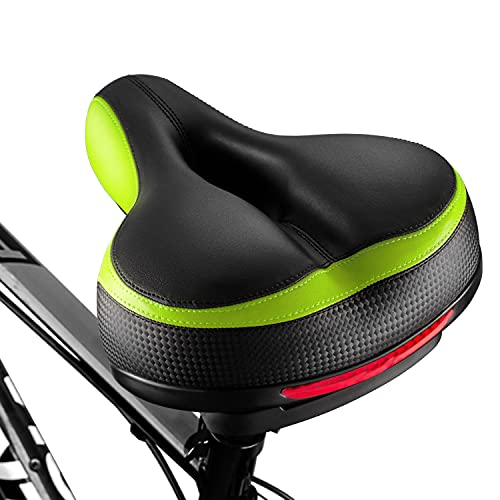 BLUEWIND Bike Seat, Most Comfortable Bicycle Seat Replacement with Dual Shock Absorbing Ball Wide Bike Seat Memory Foam Bicycle Gel Seat with Mounting Wrench Green
