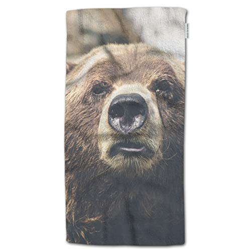 """HGOD DESIGNS Hand Towel Bear,Nature Animal Big Brown Bear Face Hand Towel Best for Bathroom Kitchen Bath and Hand Towels 30"""" Lx15 W"""