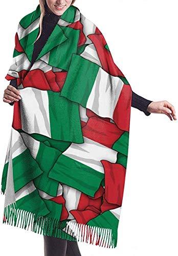 JJsister Frauen Pashmina Wickelschal, Kaschmir Gefühl Schal Wraps Italien Flagge Muster Mode Großen Schal Für Frauen Winter Warme Weiche Schals Decke
