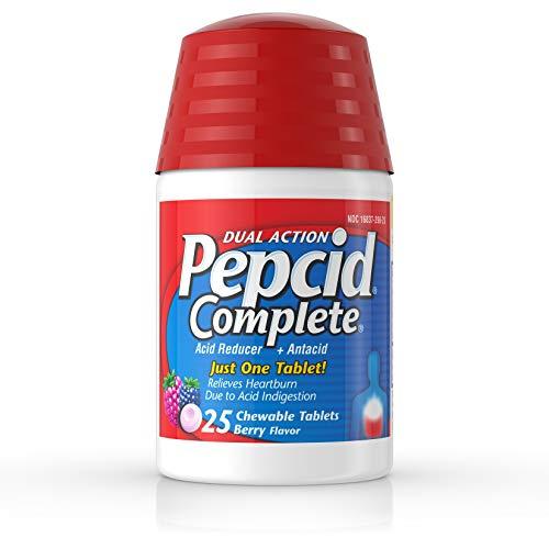 Pepcid Complete Acid Reducer + Antacid Chewable Tablets for Heartburn Relief, Berry Flavor, 25 ct.