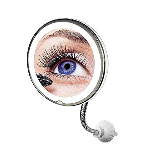 whiteswan Flexibler Vergrößerungsspiegel Mit LED Licht, 10-facher Vergrößerung, Starker Saugnapf - Beleuchteter Kosmetikspiegel Make-Up Schminkspiegel Mit Blendfreier Beleuchtung